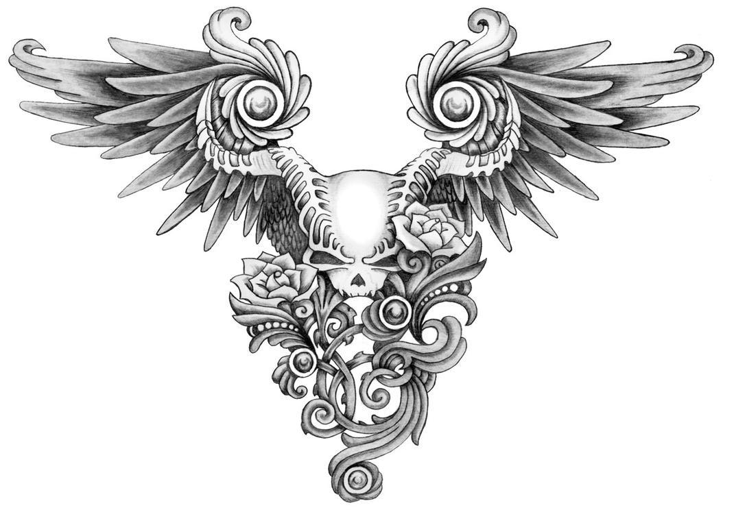 Cherry blossom crest clipart free clip art images - Winged Skull Tattoo By Annikki On Deviantart