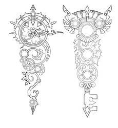 Steampunk Clock and Key tattoo