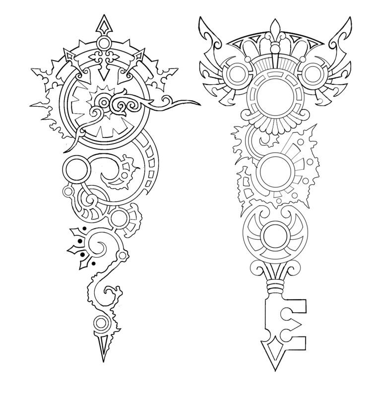 Key Art Design : Steampunk clock and key tattoo by annikki on deviantart