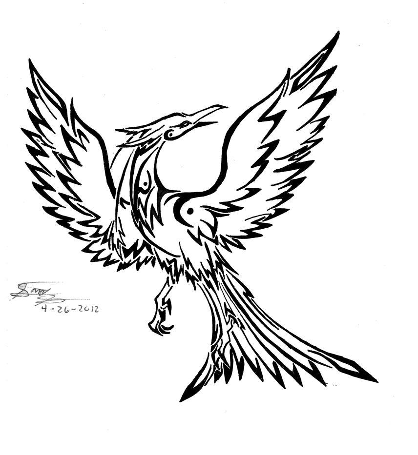 Tribal Phoenix by ~EmeraldRainDragon on deviantART