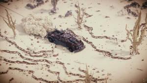 Voxel post-apocalyptic car