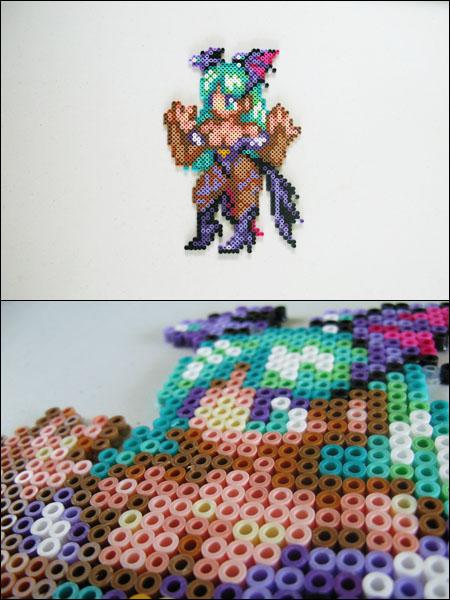Darkstalkers Morrigan bead sprite magnet by 8bitcraft
