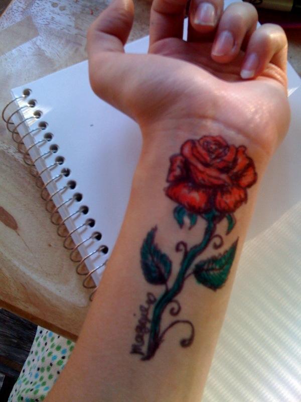 Sharpie Rose Tattoo