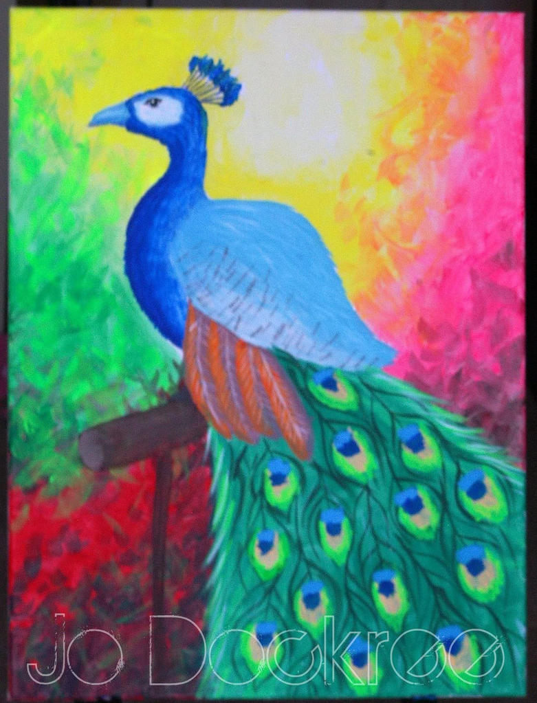 Peacock painting by jojo love on deviantart for Easy peacock paintings