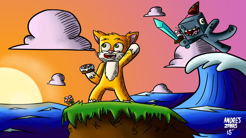 StampyCat and iBallisticSquid Wallpaper by