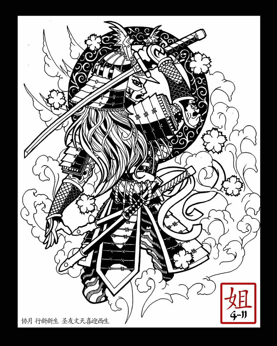 Bugeisha female samurai by freekflow808 on deviantart for Female samurai tattoo