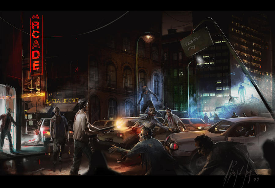 Paradise City COLOR by neisbeis 45 Awesome Apocalyptic Zombie Artworks
