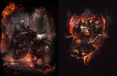 t shirt skull bike