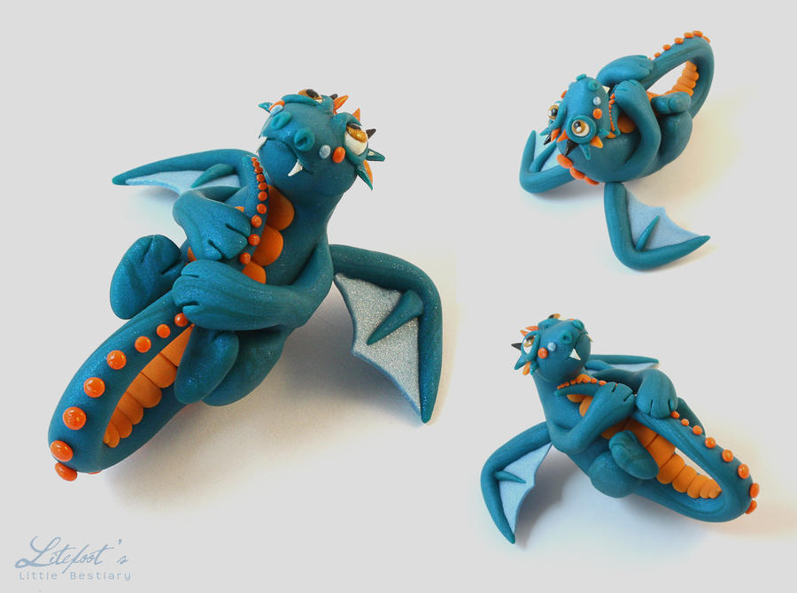 Cute Little Teal Dragon by LitefootsLilBestiary
