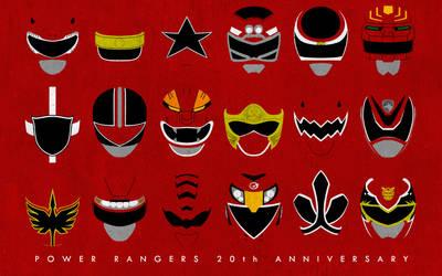 Power Rangers 20th Anniversary Red Rangers by CalicoStonewolf