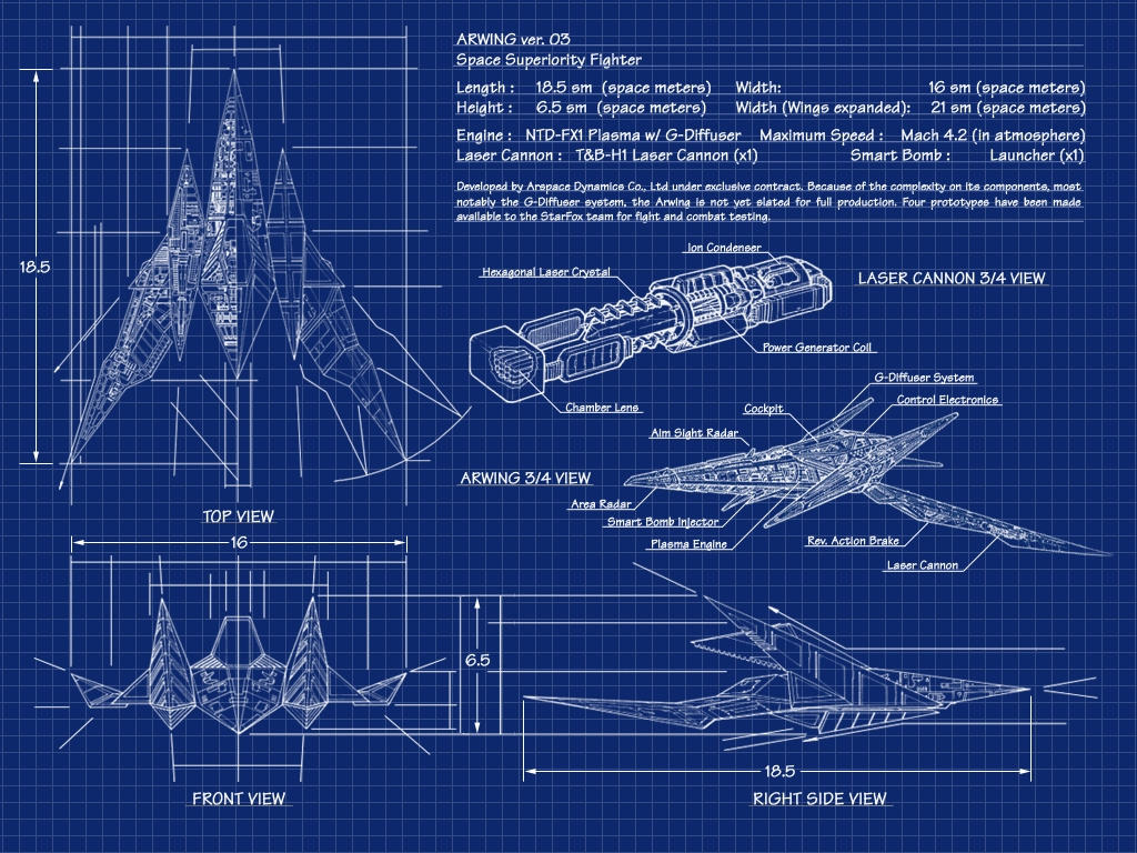 Arwing wallpaper by calicostonewolf on deviantart Blueprints for sale