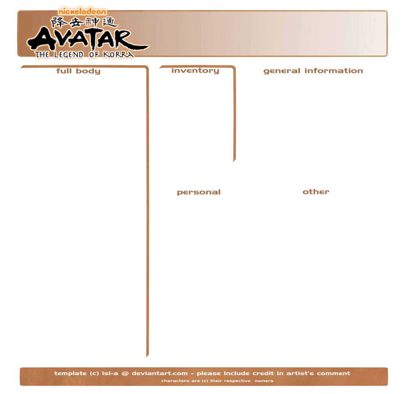 Avatar: LoK [ character template ] by isi-a on DeviantArt