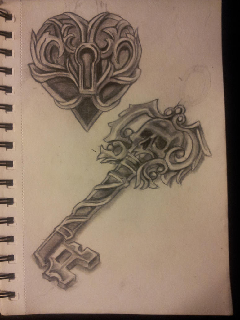 Locked Heart And Skeleton Key by organicmoon
