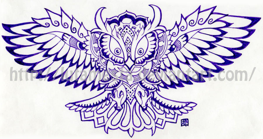 Commission:Owl tattoo design by lutamesta