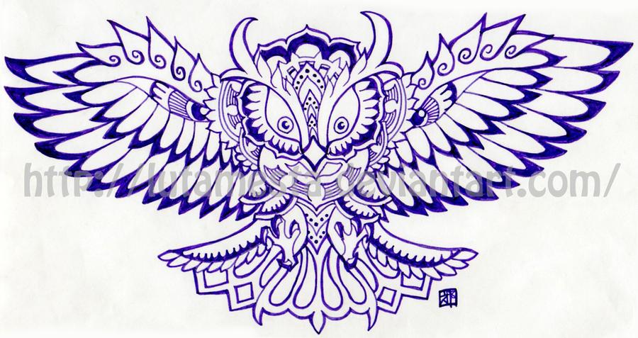 Commission:Owl tattoo design by lutamesta on DeviantArt
