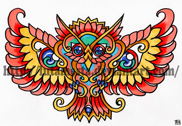 Commission:Owl tattoo design 2 by lutamesta