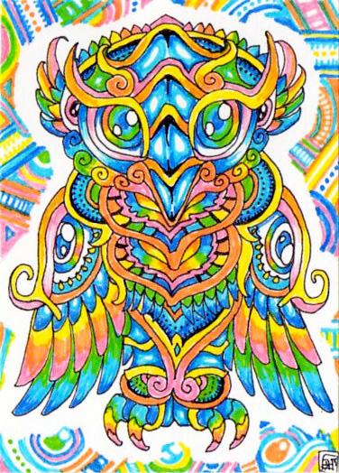 ACEOPsychedelic Owl By Lutamesta On DeviantArt