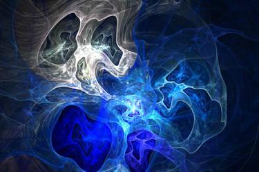 Ghost Fractal Texture Skull Ghostly White Blue Lig