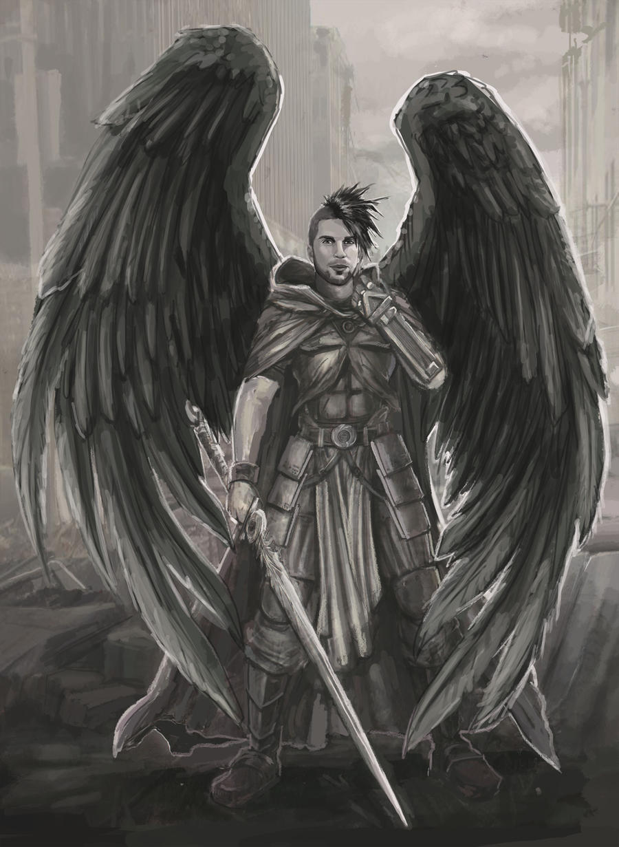 Warrior angel in post apocalyptic ruins by BrentWoodside ...