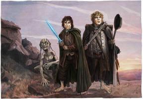 Frodo, Sam, Gollum by BrentWoodside