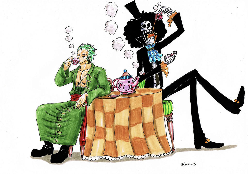 One Piece Zoro And Brook By Heivais