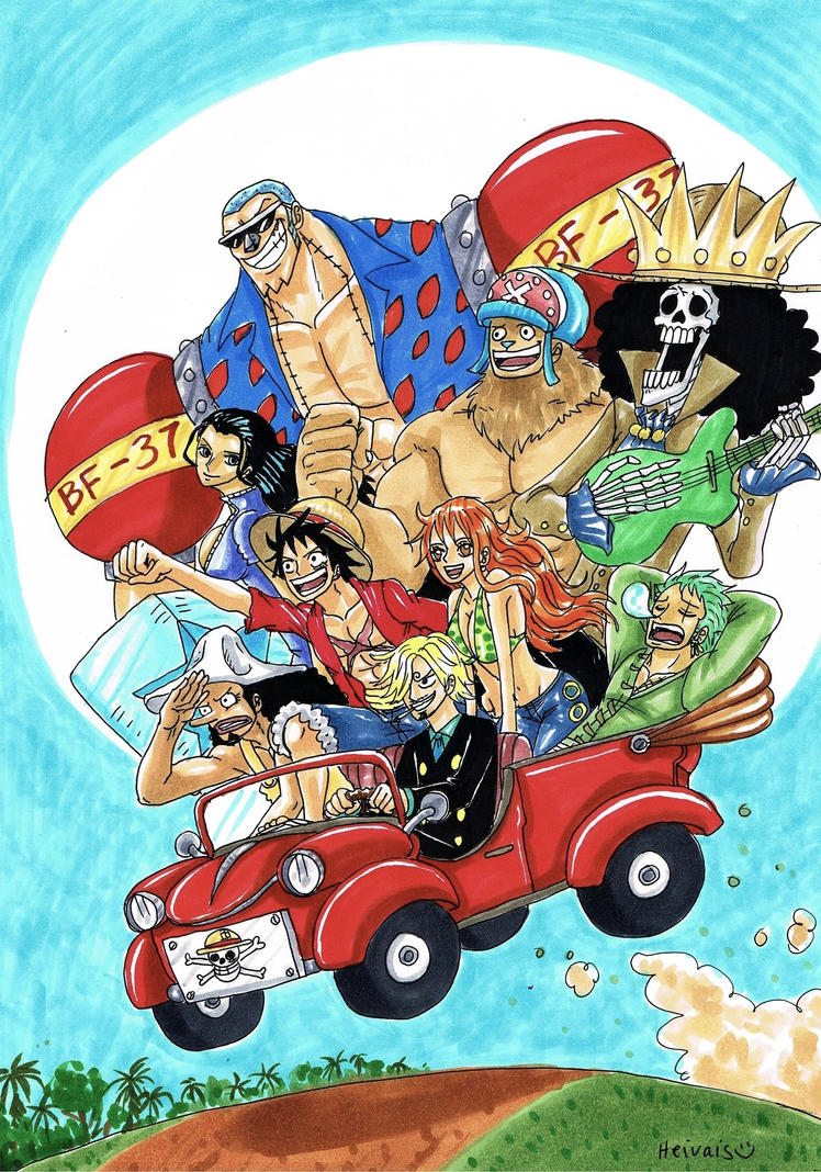 Mugiwara pirates in a car by heivais