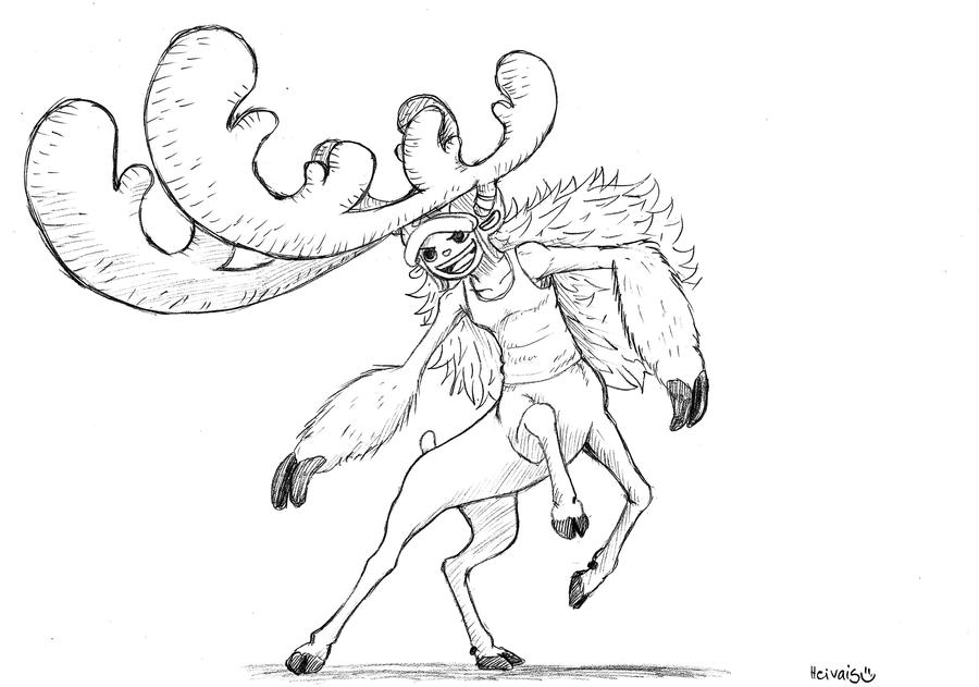 Horn point, Reindeer centaur by heivais