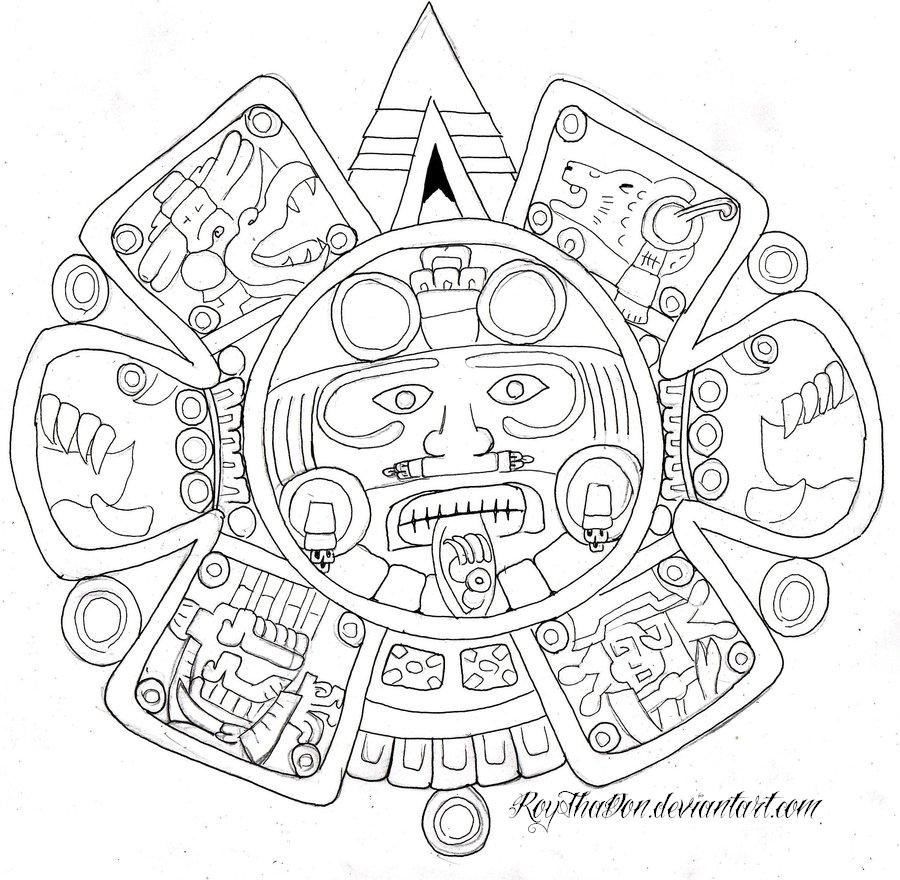 Tonatiuh by roythadon on deviantart for Aztec sun coloring page