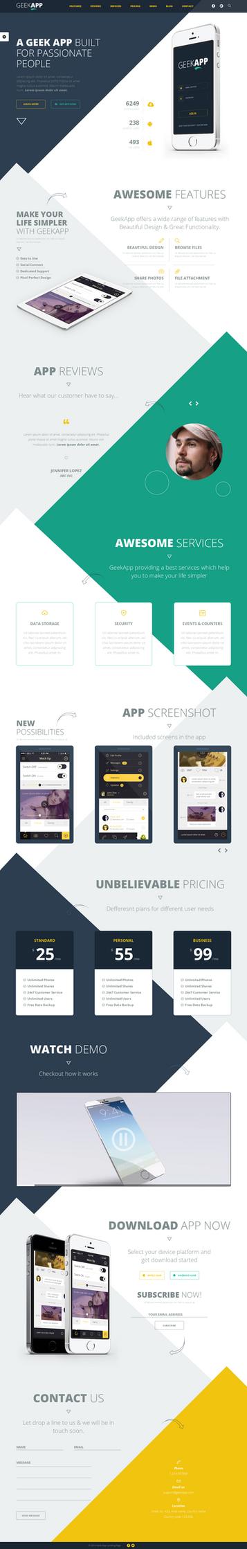 GeekApp - Creative App Landing Page, Blog Theme by sandracz
