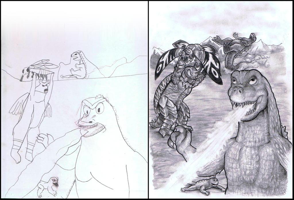 The ''Lamer'' Godzilla - original and redone by Vrahno