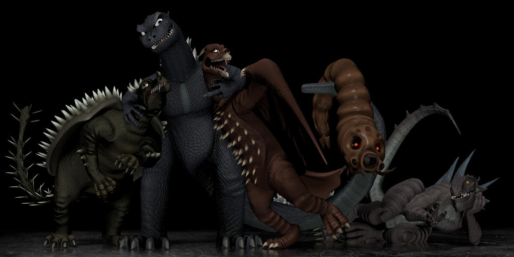 Good Monster groupshot (Godzilla and ''friends'') by Vrahno