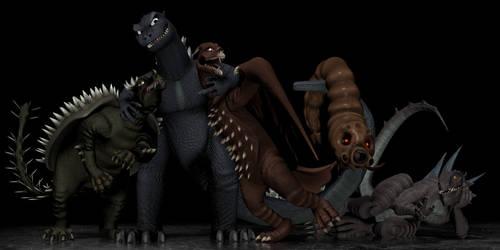 Good Monster groupshot (Godzilla and ''friends'')