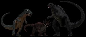 Gorosaurus, Baragon and a Godzilla