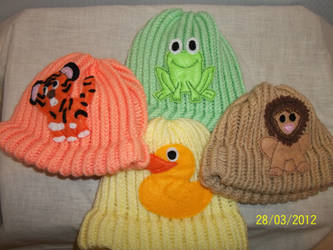 Set of baby animal hats- custom knitted.