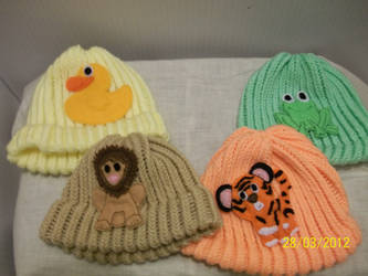 Set of baby animal hats- custom knitted. second