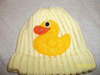 Duck custom knitted baby hat