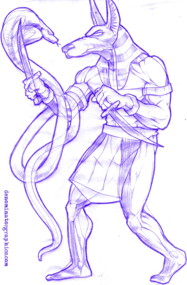 Egyptian Cobra Drawing Anpu vs The Cobra...787