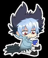 Kuro playing his 3DS by Amberlea-draws