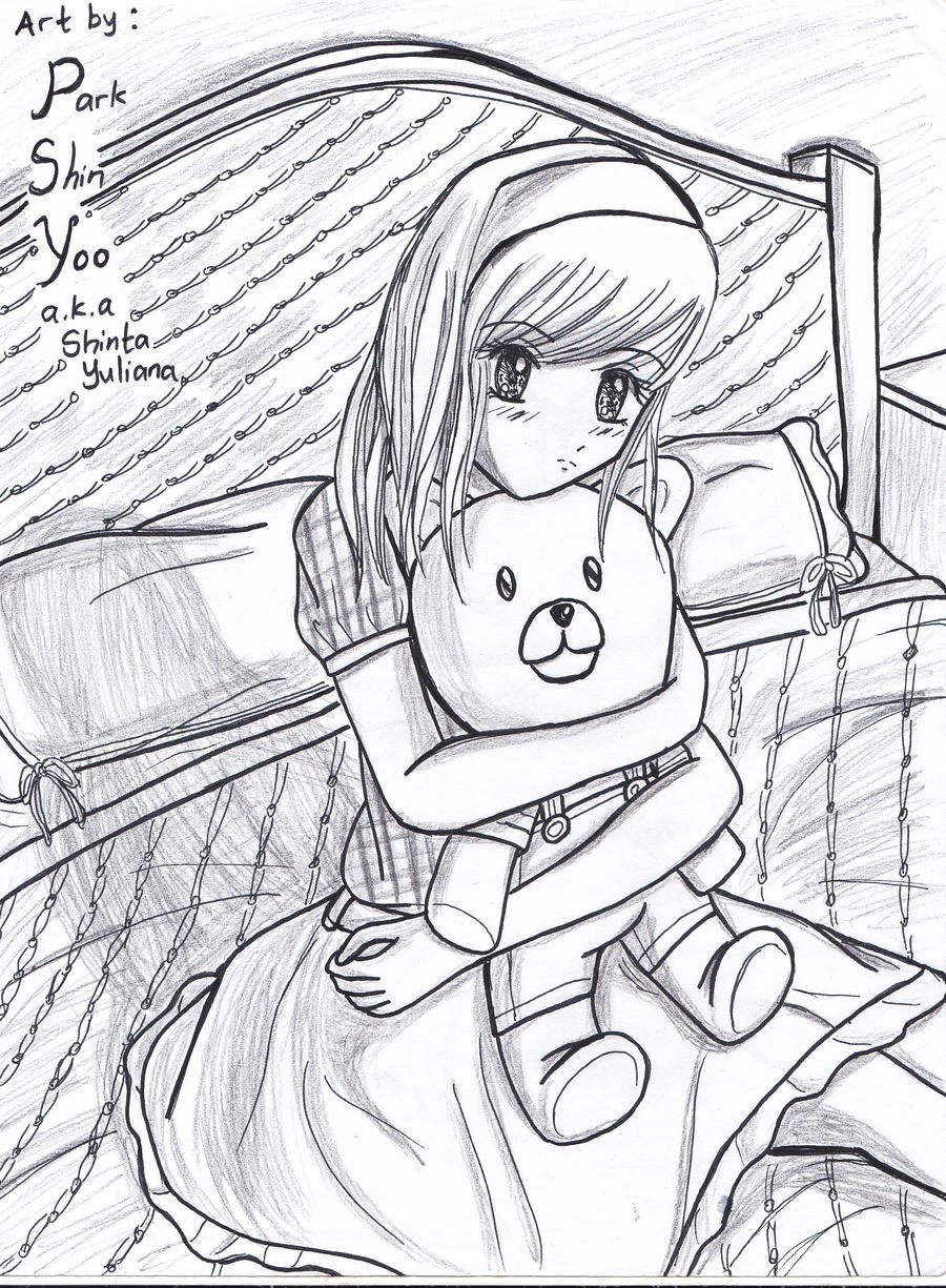 feel shy? hug your teddy bear by Shinyoo91 on DeviantArt