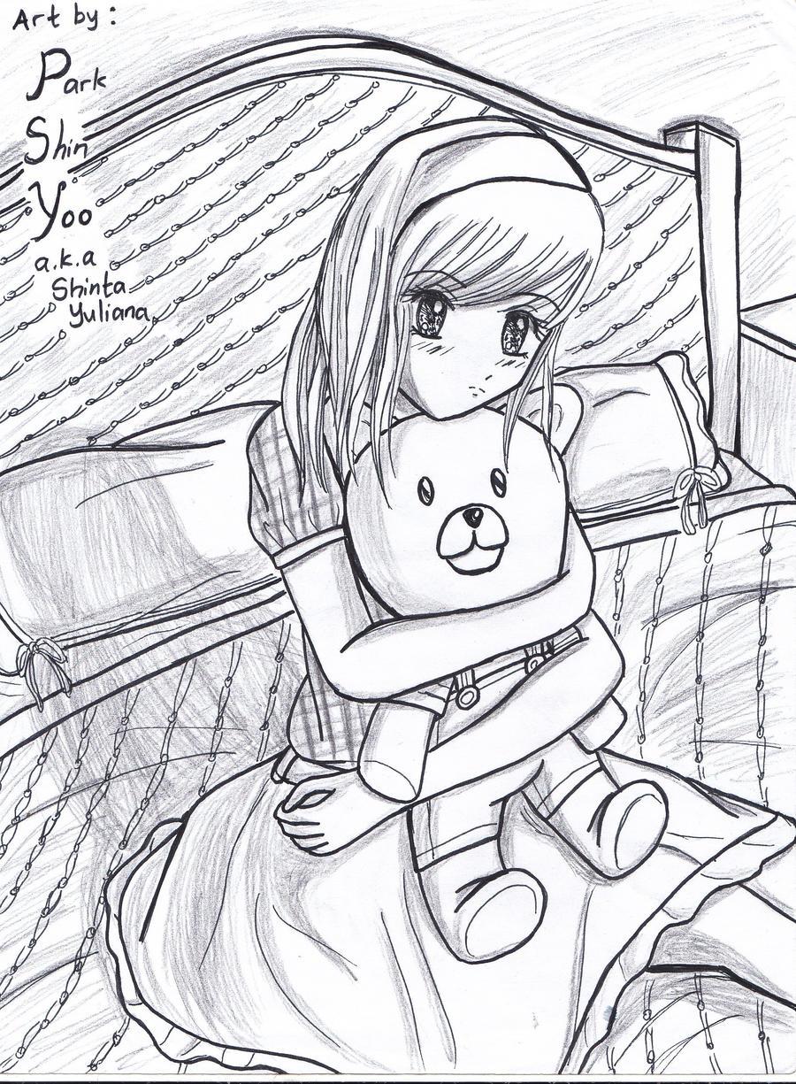feel shy? hug your teddy bear by Shinyoo91 on DeviantArt