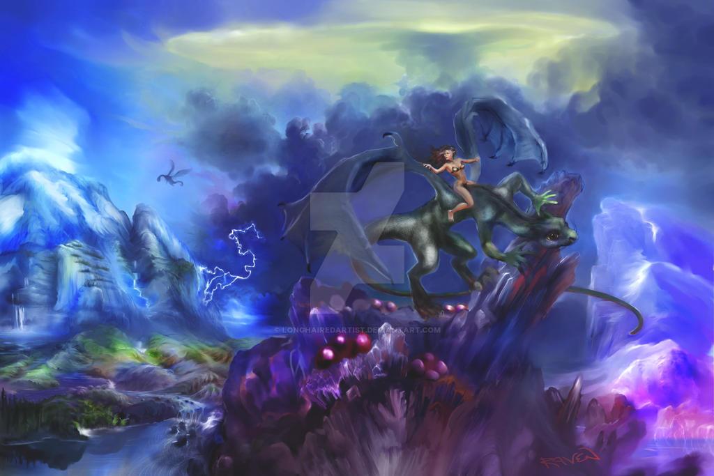 Dragon Rider by longhairedartist