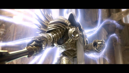 Diablo III Tyrael takes Imperius' spear from him by SPARTAN22294