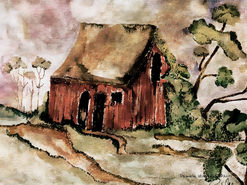Old red barn with trees and weeds 2017 by Mapsart