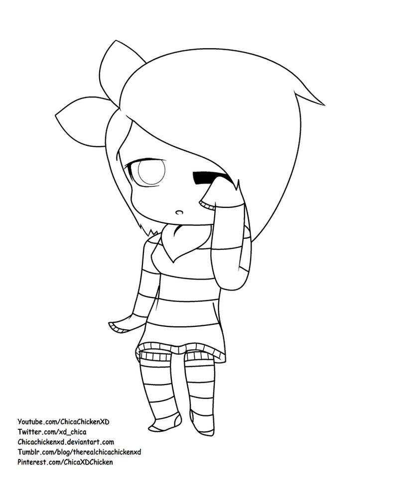 Kawaii Chica Coloring Page by ChicaChickenXD