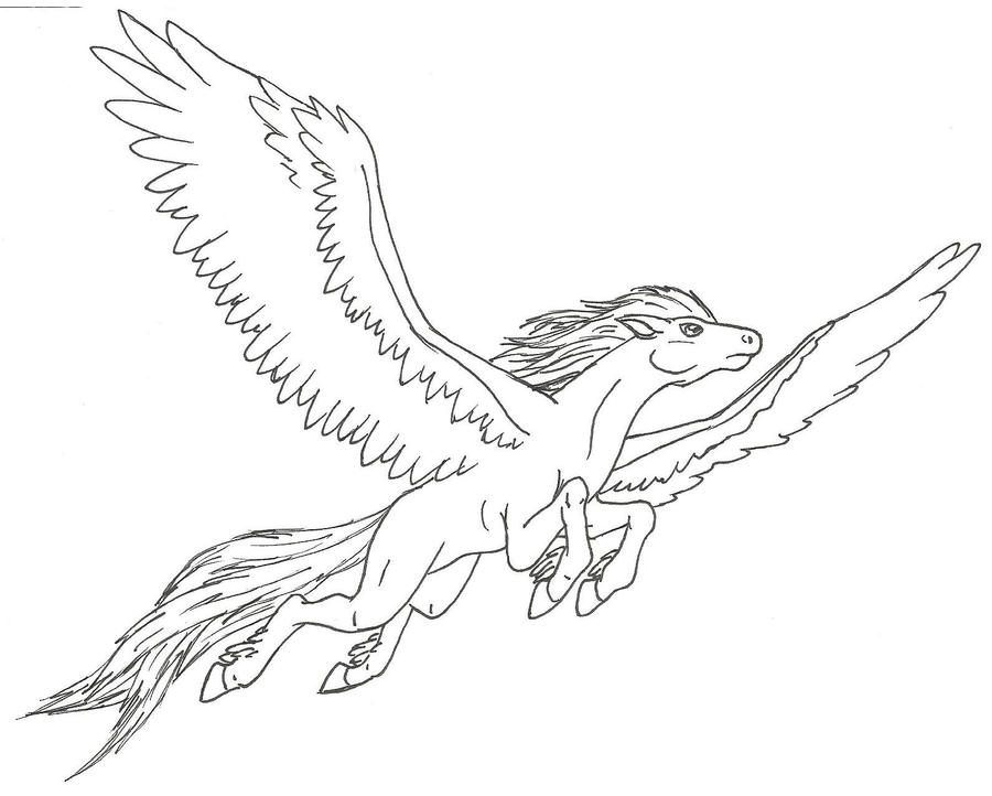 Pegasus flying by ninetales4ever on deviantart for Pegasus coloring pages
