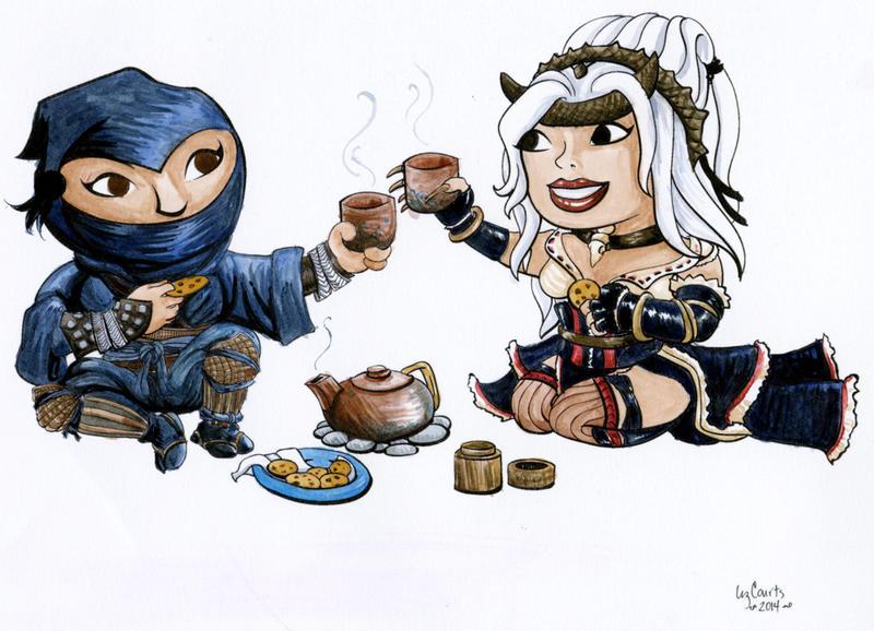 Tea with Feiya and Reiko by lilith-darkmoon