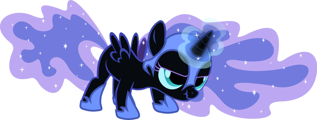 Filly Nightmare Moon Tries Magic - Gift by anonymousnekodos
