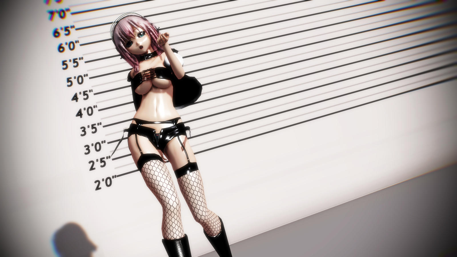 3d mmd super sonico shows off her big tittes and sweet ass in pink cat 7