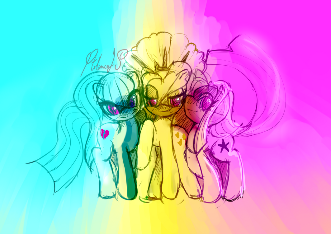 the dazzlings ponies, colored sketch by PtolemaiosLS