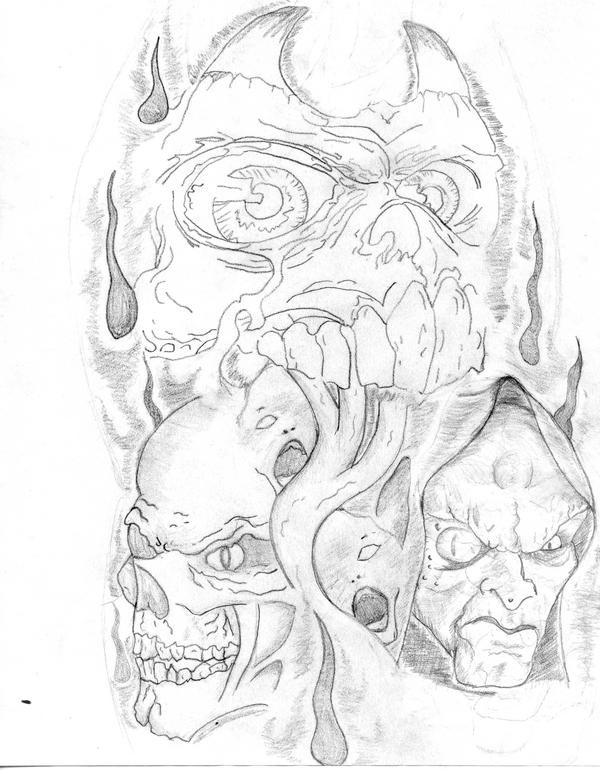 The gallery for evil tattoo sleeve drawings for Evil tattoo sleeve